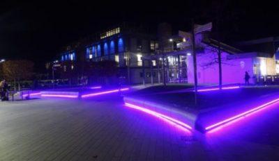 大学の夜のライトアップ
