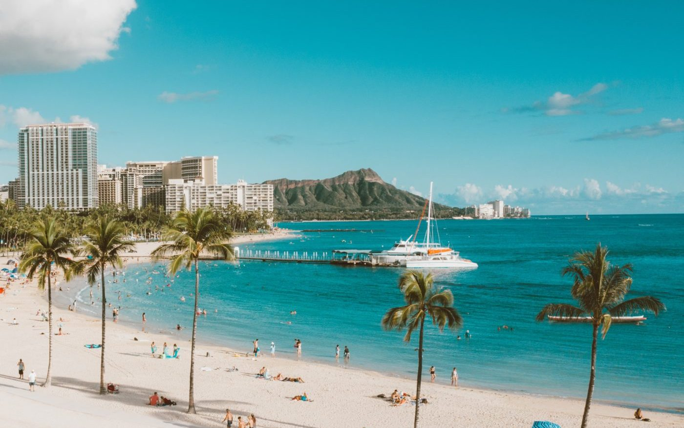 ハワイ ワイキキビーチとダイヤモンドヘッドの写真